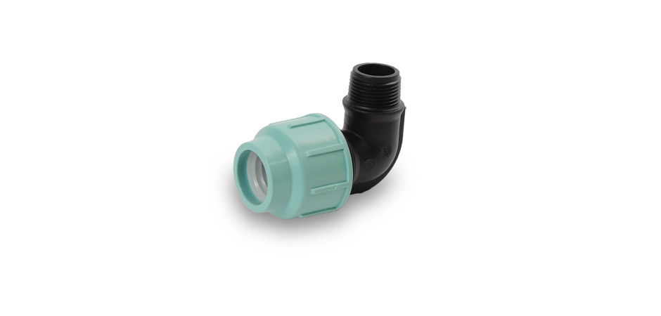 "PP elbow 90° - 63 mm x 2"" male thread"