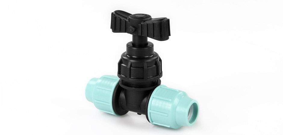 PP Coupling with shut-off valve 20mm