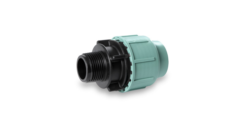 "PP connector - 75 mm x 3"" male thread"