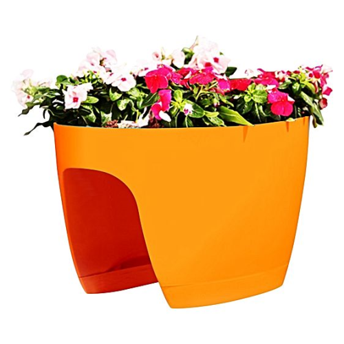 GREENBO XL railing and deck flower box orange